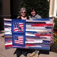 """Chaplain Leslie Nelson and Susan Gor""""don with Fran Randolph's Quilt, A Prayer for Freedom"""" #4030"""